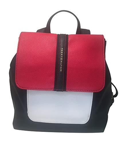 Tommy Hilfiger Colorblock Backpack Bag - Red, White and Blue with Flap-Over Closure, Adjustable Shoulder Straps and Top-Carry Handle