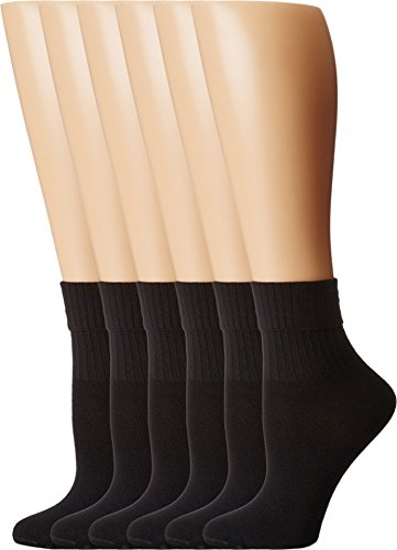 HUE Women's Turncuff Sport Socks, 6 Pair (Turncuff Socks)