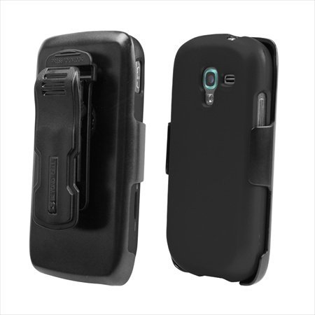 Beyond Cell Kombo Case and Holster Belt Clip Combo with Screen Protector for Samsung Galaxy Exhibit T599 - Non-Retail Packaging - Black
