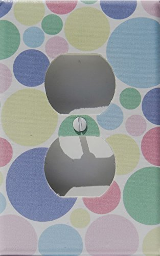 Pastel Multi Colored Dot Outlet Switch Plate Cover in Pink, Blue, Green, Yellow, and Pule