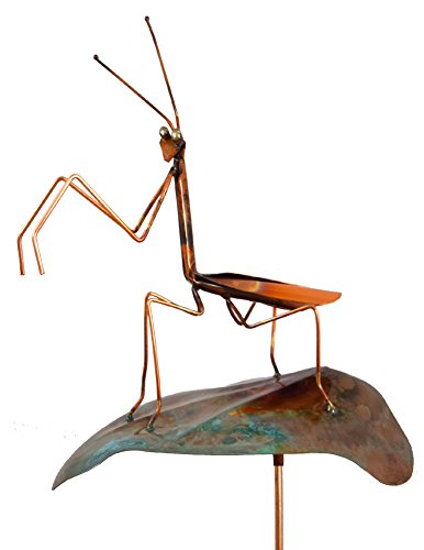 Modern Artisans Copper Praying Mantis Garden Sculpture & Stake, American Made