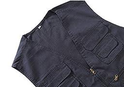 Geval Cotton Men\'s Multiple Pockets Photography Director Work Vest(Black,S)