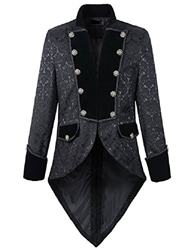 Prime Quality Mens Steampunk EMO Tailcoat Jacket Velvet Gothic VTG Victorian /Tail Coat/USA Sizes 3