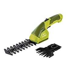 Hedge your bet. Perfect for post-mowing touch ups in tight spaces, the sun Joe HJ604C 2-in-1 grass shear Hedger boasts a 7.2V long-life lithium-ion battery for hassle-free, cordless operation. Power up instantly with the push of a button &amp...