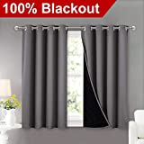 NICETOWN 100% Blackout Curtains with Black