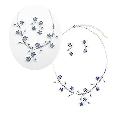 Blue Crystal Necklace Set Flower & Vine Jewelry Boxed (Box#38) for cheap