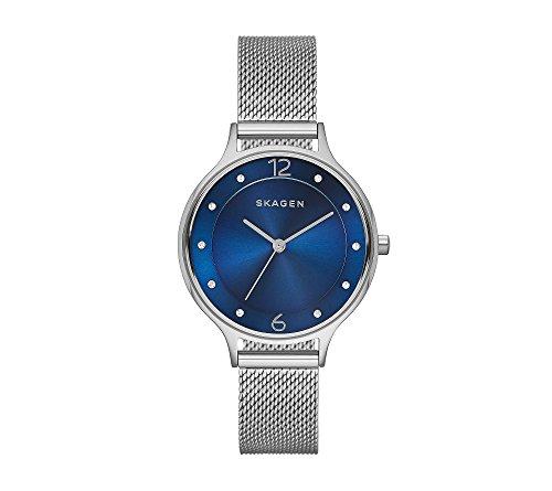 Skagen Women's 30mm Anita Silvertone Bracelet Watch with Dark Blue Dial