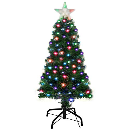 (Holiday Essence Pre Lit Christmas Tree 4 Ft - Artificial Xmas Tree with Prelit LED Multi Color Lights, Star Tree Topper, Changing LEDs, 120 Full Hinged Tips, Metal Stand, UL Listed)