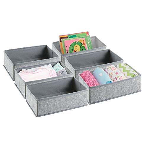 (mDesign Soft Fabric Dresser Drawer and Closet Storage Organizer for Toddler/Kids Bedroom, Nursery, Playroom - Rectangular Bin with Textured Print, 6 Pack - Gray)