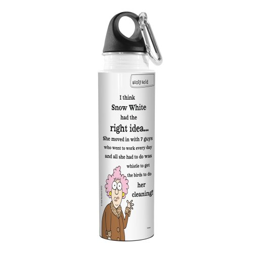 Tree-Free Greetings VB47823 Aunty Acid Artful Traveler Stainless Steel Water Bottle, 18-Ounce, Snow White (Greetings Snow)