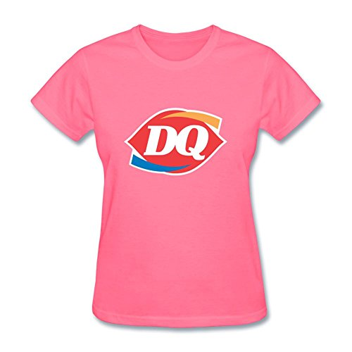 OMMIIY Women's Cotton Dairy Queen T-Shirt Pink (Dairy Queen Shirt)