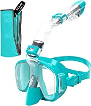 Snorkel Mask, FOLNG Snorkeling Gear for Adults Kids, Snorkel Set with Camera Mount Foldable 180 Degree Panoram