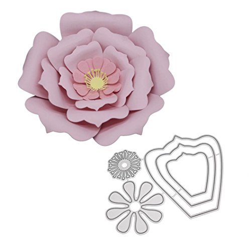 Die Cutting, Stencil Cutting for Making Scrapbooking Metal Die Cuts for Card Making, Get Well Embossing Folders Wreath Wavy Stitched Square Hexagon Sunflowe for Album Decorative DIY Pape (L)
