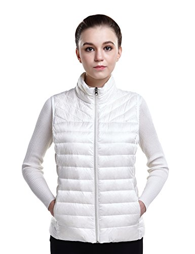 Puredown Women's Down Packable Puffer Vest, White, XS Size