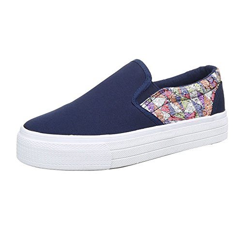 Ital-Design WoMen Slippers Blau Multi