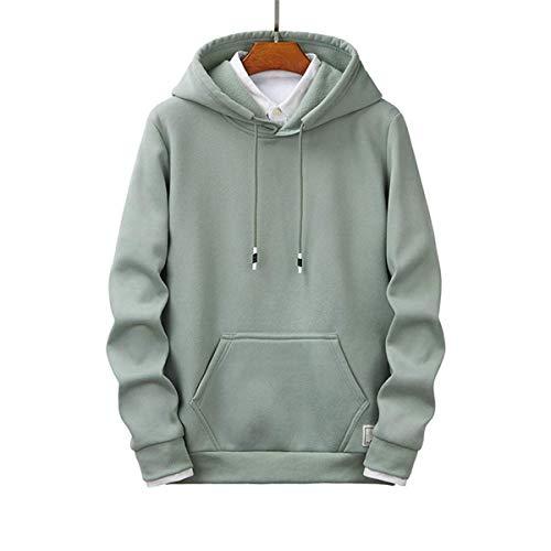 FCYOSO Yong Boy Solid Color Basic Pullove Hoodies Green S
