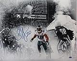 #9: Brian Dawkins Autographed Photograph - 16x20 Spotlight #20 horizontal white jersey smoke tunnel run)