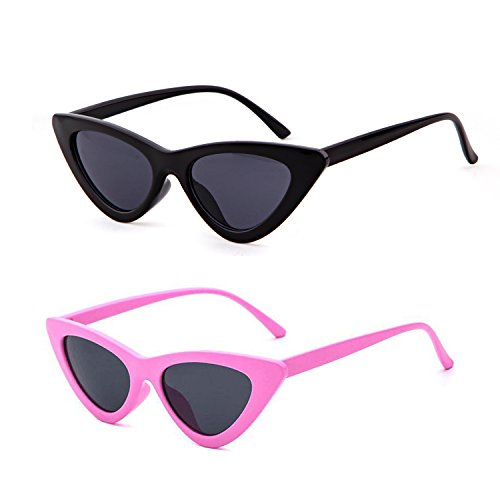 Clout Goggles Cat Eye Sunglasses Vintage Mod Style Retro Kurt Cobain Sunglasses (Black&Pink(2 pairs), - Black Sunglasses Pink And