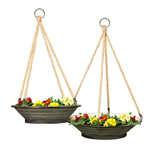 VIP Home Garden FH1579 Garden Hanging Planter Gray by VIP Home Garden