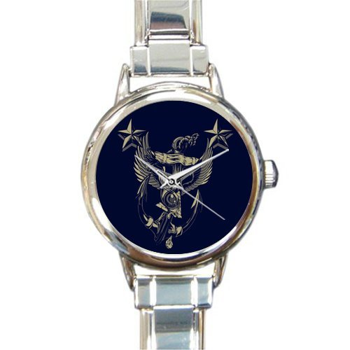 Christmas Day Gift Nautical Anchor Desktop Round Italian Charm stainless steel Watch
