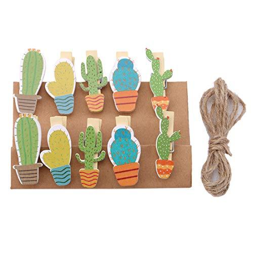 VWH Carton Cactus Shape Mini Pegs Craft Pegs Wooden Photo Clips