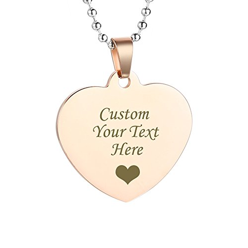 GAGAFEEL Custom Engraved Personalized Friendship Family Lover Pet Necklace Dog ID Tag Pendant Love Gift (Heart Tag-Rose Gold)