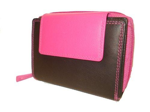 Portafoglio Donna LEAS, Vera Pelle, nero-rosa - ''LEAS Zipper-Collection''