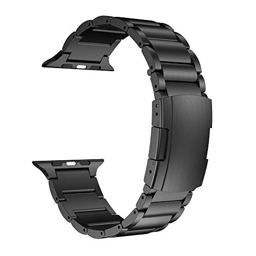 NotoCity Compatible Apple Watch Band 44mm/42mm, Titanium Metal Watch Strap with Double Button Clasp Compatible Apple Watch Series - Watch Titanium Band