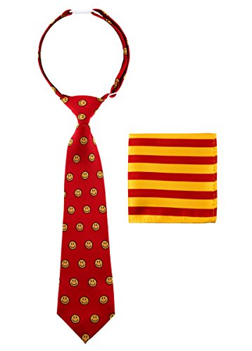 Canacana Smiley Emoji Woven Microfiber Pre-tied Boy's Tie with Stripes Pocket Square Gift Box Set - Red and Yellow - 24 months - 4 years, Christmas gift