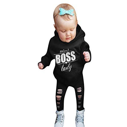 SUJING 2PCS Toddler Infant Baby Boy Clothes Set Letter Print Hooded Long Sleeved Blouse+Long Pants Outfits Set (Black-2, 3T)