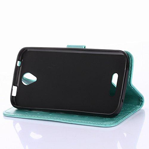 Yiizy DOOGEE X6 Custodia Cover, Erba Fiore Design Sottile Flip Portafoglio PU Pelle Cuoio Copertura Shell Case Slot Schede Cavalletto Stile Libro Bumper Protettivo Borsa (Verde)