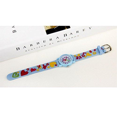 Xmas Gift for Children,Jian Ya Na Lovely Cartoon Children Watch,Silicone Strap Digital Round Quartz Wristwatches for Girls Boys Kids (Blue(3D Love )) by Jian Ya Na (Image #3)
