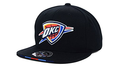 Oklahoma City Thunder Men's Mitchell & Ness NBA Basketball Super Stripe Fitted Hat Cap - Black (7 1/8)