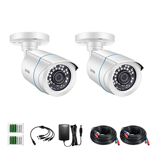ZOSI 2 Pack 2MP 1080p HD-TVI Home Security Camera Outdoor Indoor 1920TVL,80ft Night Vision, Weatherproof Surveillance…