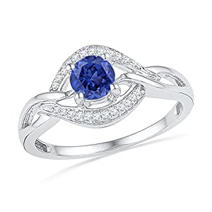 Size - 5.5 - Solid 925 Sterling Silver Round Blue Simulated Sapphire And White Diamond Engagement Ring OR Fashion Band Prong Set Solitaire Shaped Halo Ring (.09 cttw)