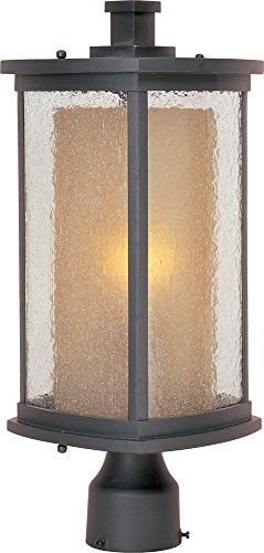 (Maxim 3150CDWSBZ Bungalow 1-Light Outdoor Pole/Post Lantern, Bronze Finish, Seedy/Wilshire Glass, MB Incandescent Incandescent Bulb , 60W Max., Dry Safety Rating, Standard Dimmable, Glass Shade Material, Rated Lumens)