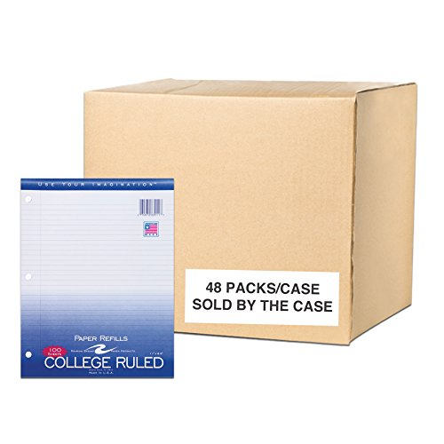 Case of 48 Packs of Looseleaf Filler Paper, 8.5''x11'', 100 Sheets of Smooth Medium Weight 15# White Paper, 3-Hole Punched, College Ruled W/ Margin by Roaring Spring (Image #6)