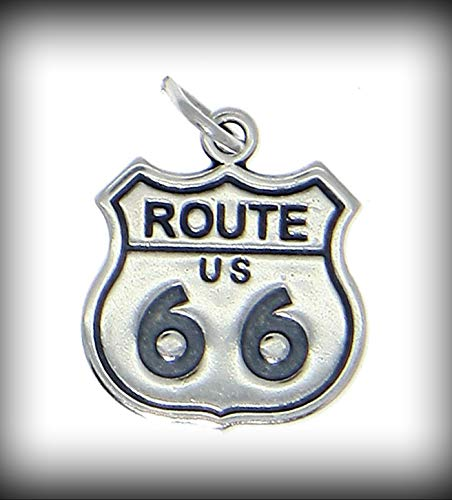 New Sterling Silver U.S. Route 66 Charm Pendant Vintage Crafting Pendant Jewelry Making Supplies - DIY for Necklace Bracelet Accessories by CharmingSS from CharmingStuffS