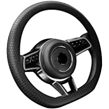 BE New Black Steering Wheel Cover - Round/D Shaped 13-15.7 Inches Universal Silicone Wheels Cover