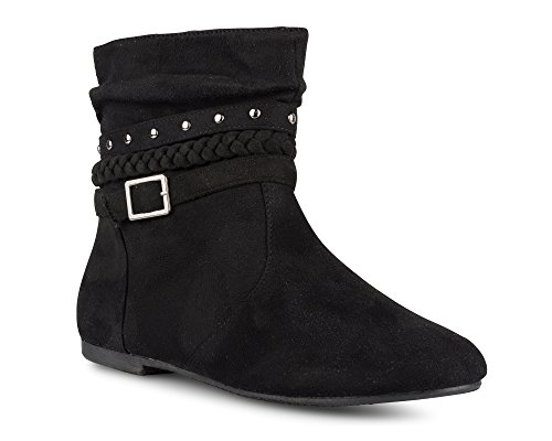 Twisted Women's SHELLY Faux Leather Ankle-High Slouchy Boot with Multi Buckle Straps Black Suede