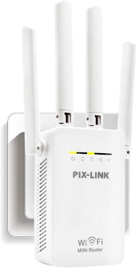 Amplificador Señal de WiFi 300Mbps, Repetidor Wifi Extensor Enrutador Inalámbrico Punto Acceso con 4 Antenas Externas en Largo Alcance (5 Modos, 2,4G, 4 Antenas, Puerto LAN/WAN, WPS)