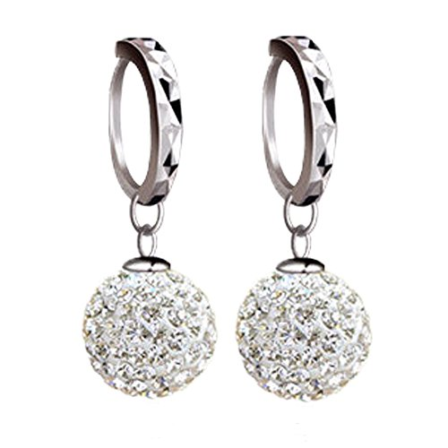 Price comparison product image Beaded Earrings Hoop Crystal Ball Drop Earrings for Women (E-B148)
