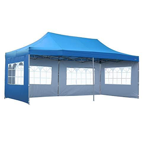 Leisurelife Outdoor Pop Up Canopy Tent 10'x20' with 4 Sidewalls- Folding Commercial Gazebo Party Tent Blue with Wheeled Carry ()