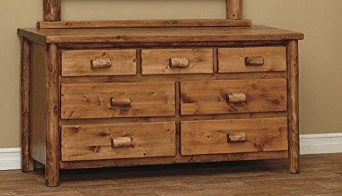 White Cedar Rustic 7 Drawer Dresser *Clear Coat* (Log Seven Drawer Dresser)