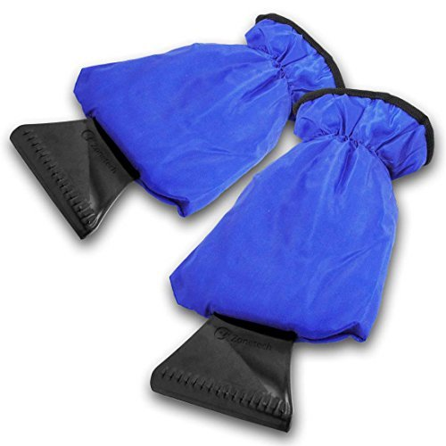Zone Tech Car Ice Scraper Mitt for Windshield Waterproof Snow Scraper with Lined Fleece Glove Removable- Blue 2 Pack