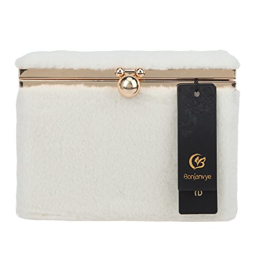 and White Cute Purses Bonjanvye Bags Clutches for Women Fur Evening tZqPUPO