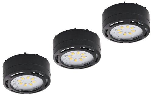 120v Puck Lights - LEDP3120BK - 120V Direct LED Puck 3 Light Kit-Black