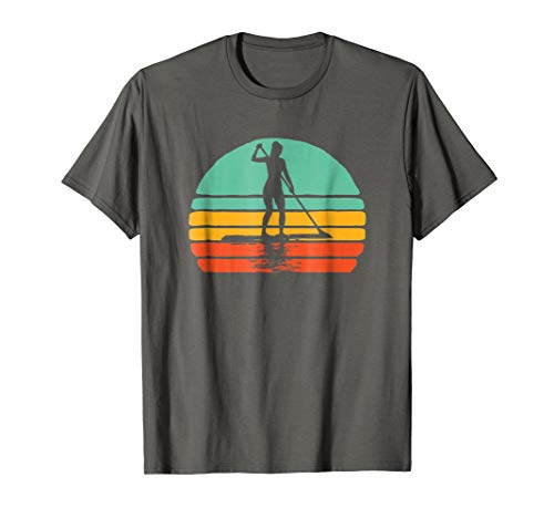 (Vintage Woman on SUP Stand Up Paddleboard Retro Shirt)