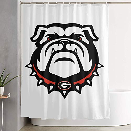 Shower Curtain, Georgia Bulldogs Bathroom Fabric Curtains Tub Large Bath Curtain Set with Rings