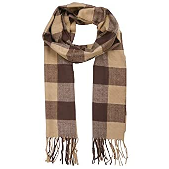 SOJOS Plaid Tartan Cashmere Scarves with Tassels for Men and Women SC3010 with Camel&Brown Checks